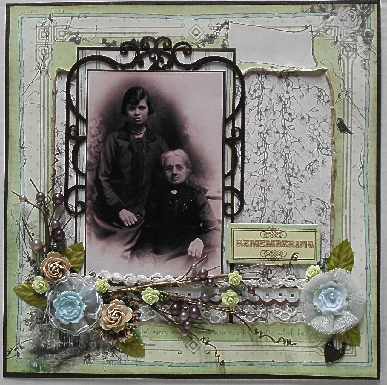 Remembering ~ Elegant heritage portrait page. Love the framing and floral spray!