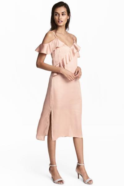 Saten Elbise Pudra Pembesi Kadin H M Tr Nedime Giysileri Elbise The Dress