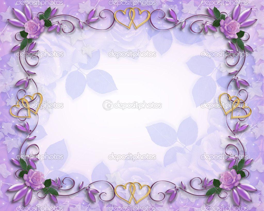 Purple Flower Border Design | Wedding invitation border ...