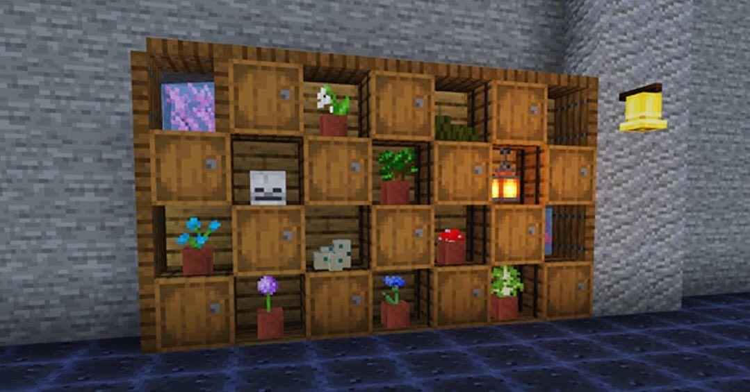 I made a shelf in minecraft. . . minecraft mc mcpe