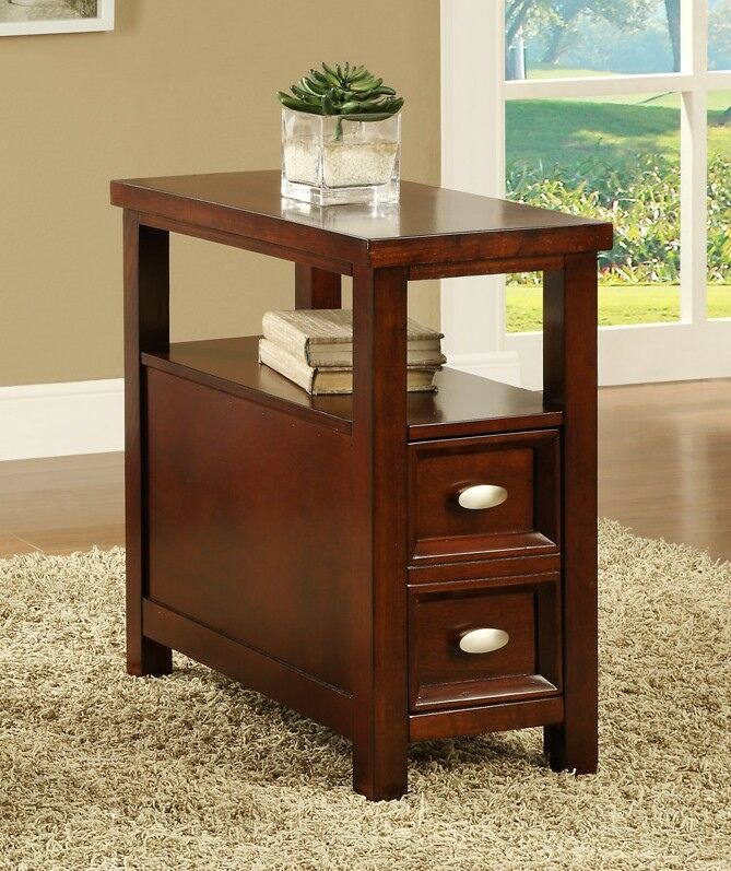 Cherry Finish Wood Rectangular Top Chair Side End Table With Two Pull Out  Drawers And Lower