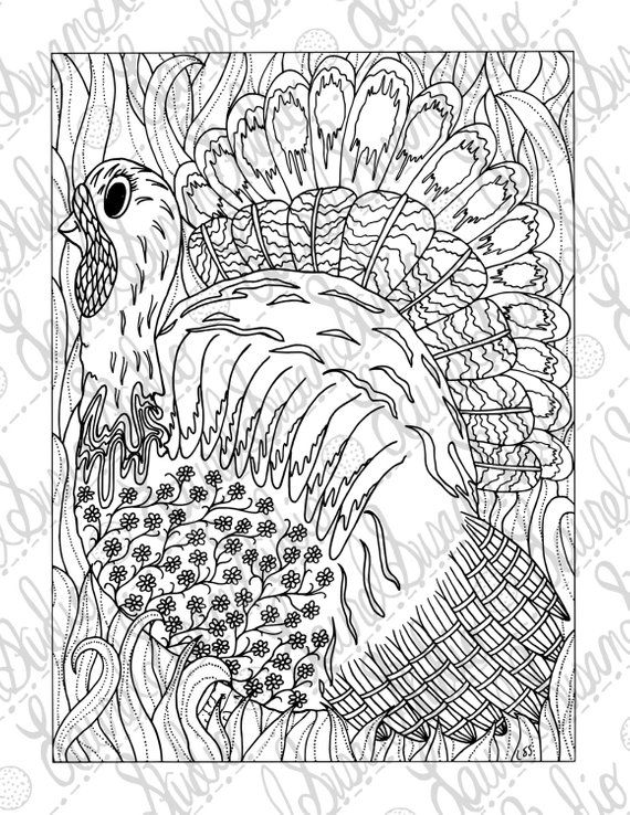 Thanksgiving Turkey Coloring Page, Adult Coloring Page