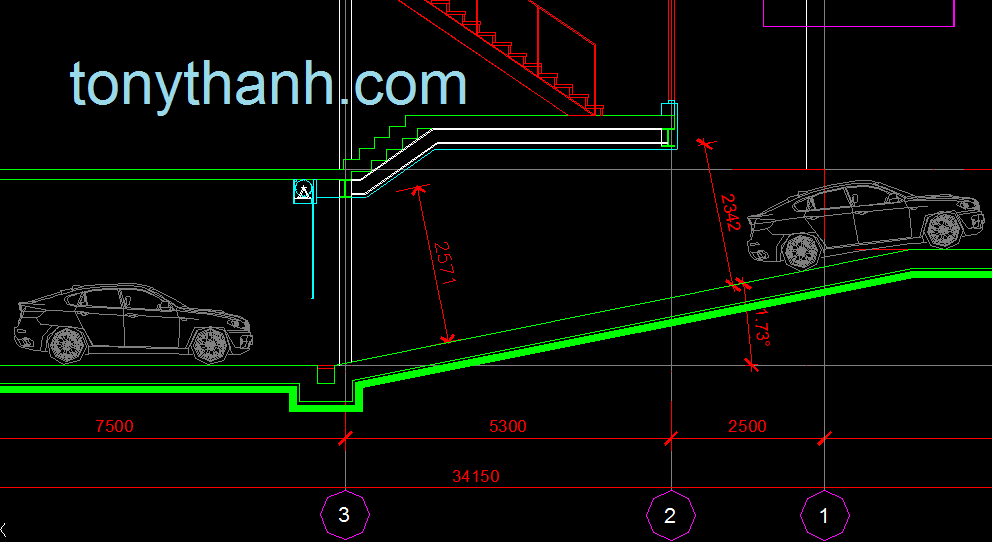 Minimum distance and slope for car in basement floor autocad