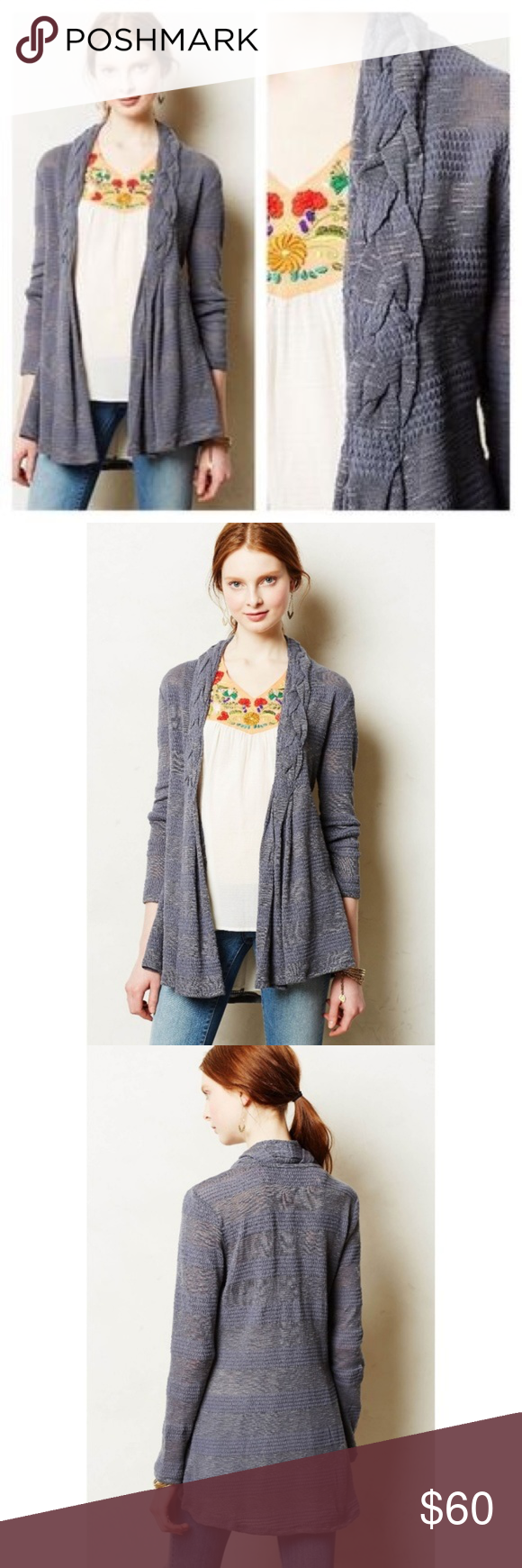 "ANTHROPOLOGIE Braided Lapel Cardigan Sweater {O51} Anthropologie One September Braided Lapel Cardi Cardigan Cotton Blend Retail: $78  Size Large Length: 33"" Chest: 21"" armpit to armpit across back  Gently worn, no flaws!  We love an easy-going piece that doesn't put up a fuss when the seasons change, like this fine gauge cardi from one.september.  By one.september Open front Polyester, cotton Anthropologie Sweaters Cardigans"