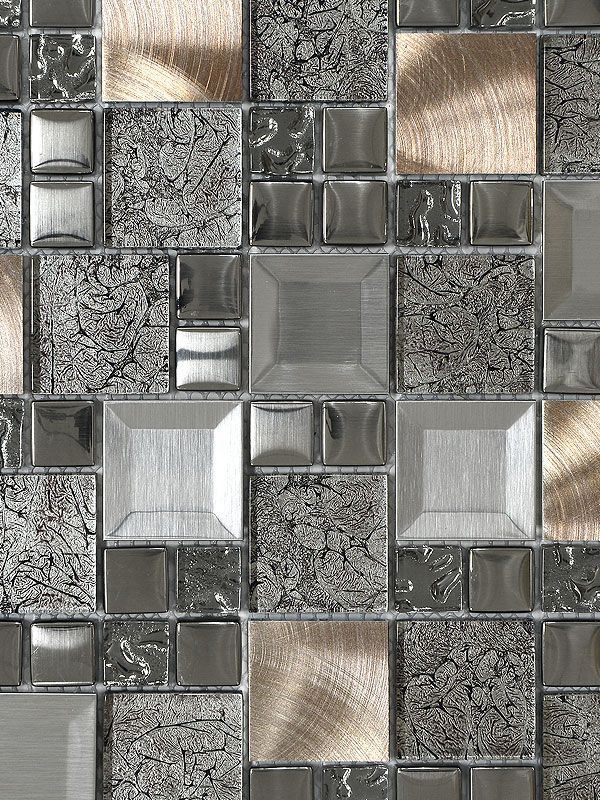 Glass Metal Gray Copper Mosaic Backsplash Tile | Cocinas | Pinterest ...
