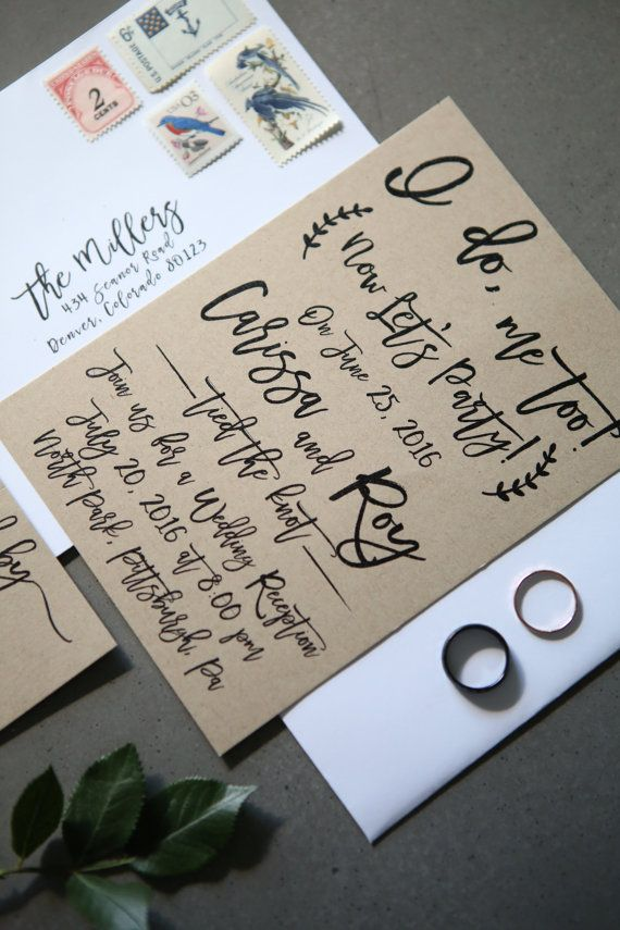 I Do Me Too Now Lets Party Elopement Wedding Announcement Post