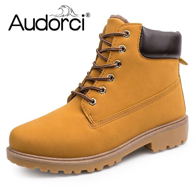 Men's Suede Leather Work Boots with Fur