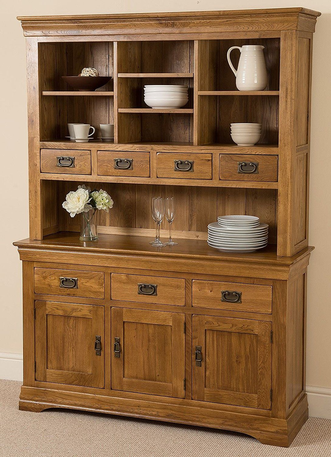 French Rustic Solid Oak Large Welsh Dresser Wall