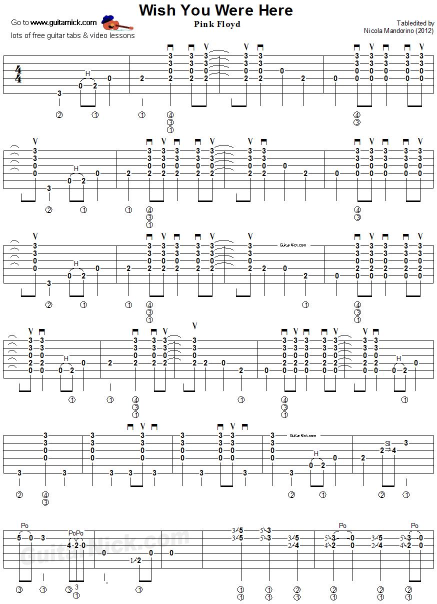 Wish You Were Here Guitar Tab 1 Guitar Tabs Guitar Sheet Music Playing Guitar