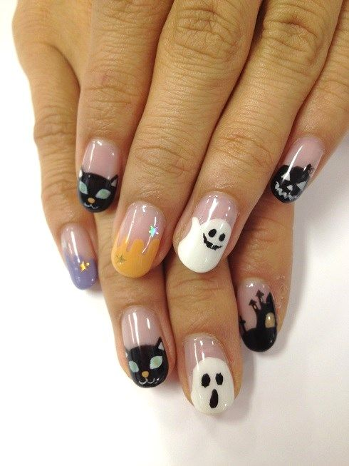 A Cats Best Friend The Ghost Halloween Nail. Black, White ...