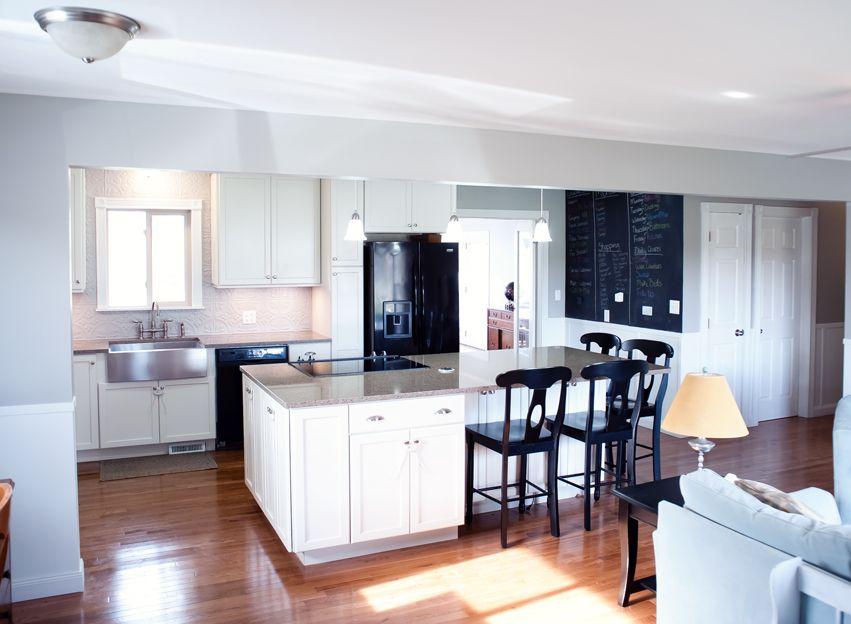 Open concept, quartz countertop, kitchen island, black ...