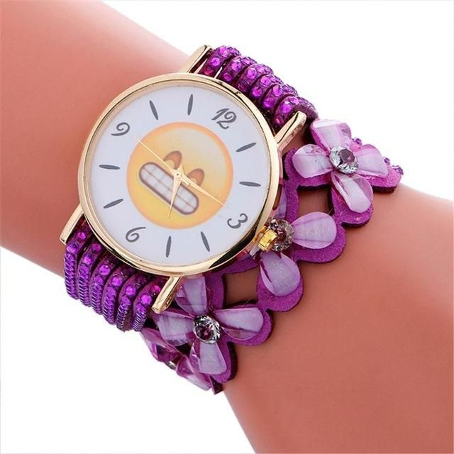Women Cute Emoji Pattern Crystal Bracelet Wrist Watch