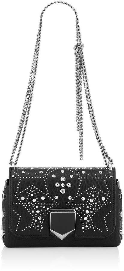 2da58f7bec8db Jimmy Choo LOCKETT PETITE Black Mix Grainy Leather Shoulder Bag with  Graphic Star Studded Embellishment