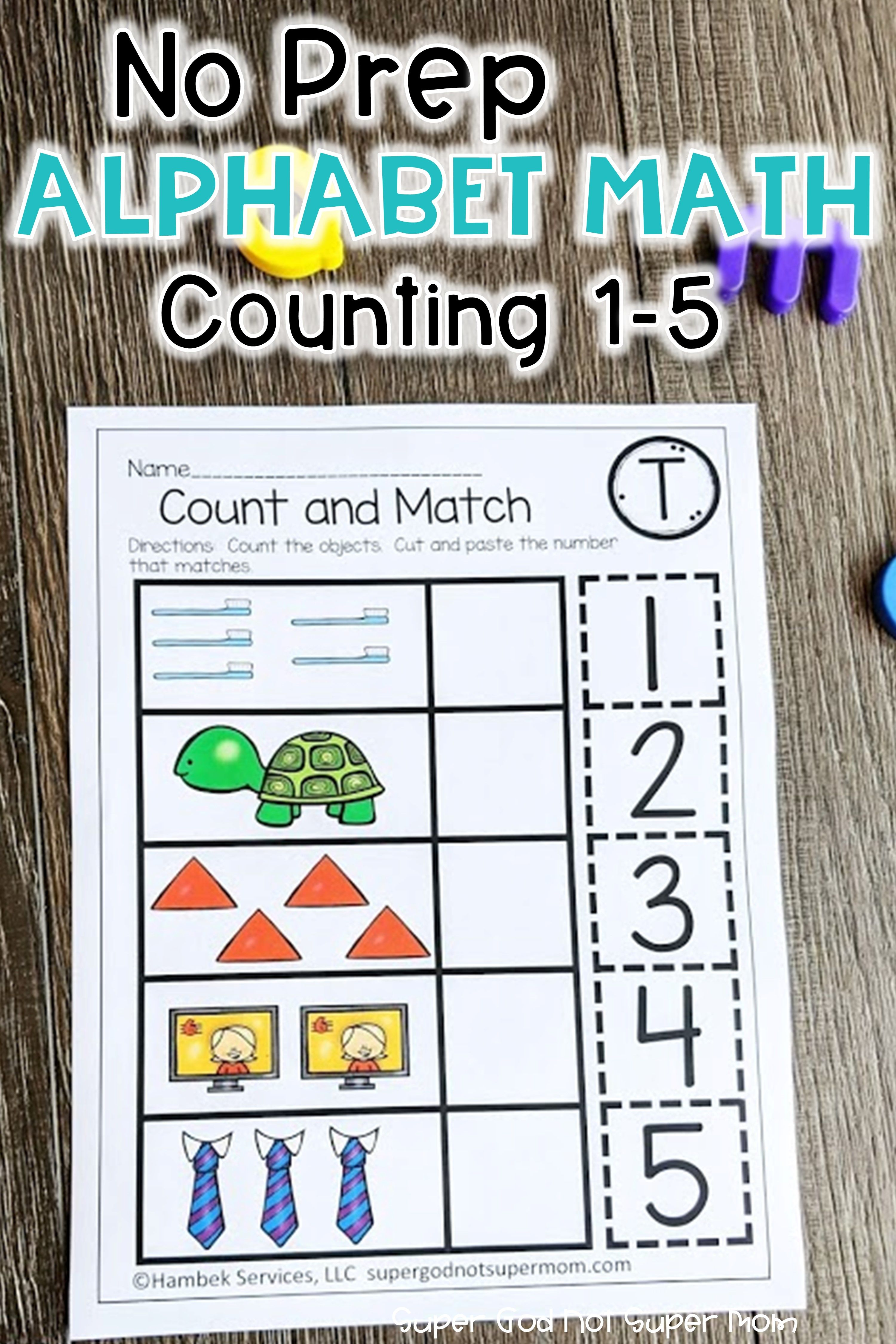 Preschool Math Worksheets Counting 1 5 With The Alphabet