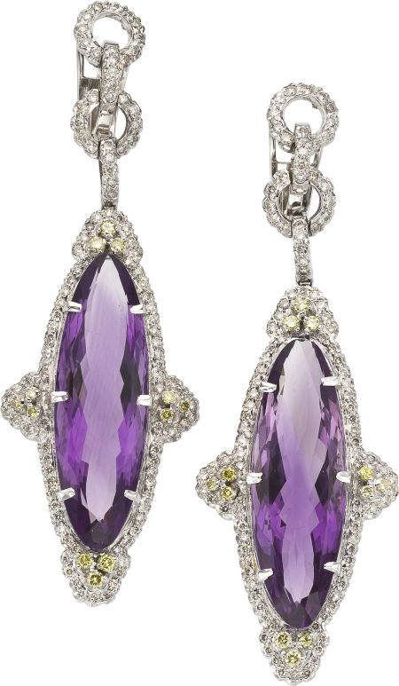 Amethyst, Colored Diamond, Diamond, White Gold Earrings