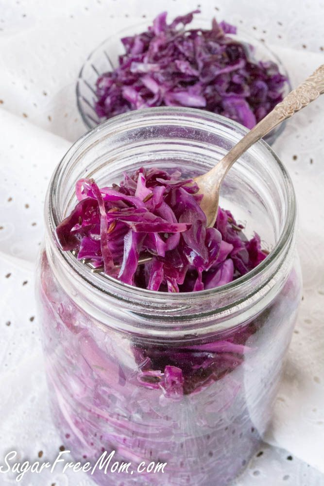 Homemade Fermented Sauerkraut Homemade Fermented Sauerkraut  Author: Brenda Bennett | Sugar Free Mom  Nutrition Information  Serves: 8  Serving size: 1/2 cupCalories: 14Fat: .1gCarbohydrates: 3.2gSugar: 1.8gSodium: 292mgFiber: 1.4gProtein: .8gCholesterol: 0mg  Prep time: 10 mins  Total time: 10 mins  Print    Ingredients  1 small head cabbage or 2 pounds or 10 cups sliced2 teaspoons kosher or pickling salt1 teaspoon caraway seeds  Instructions  Discard outer leaves of the cabbage and cut…
