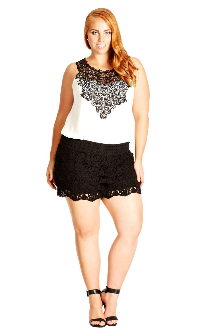7f5a30c9a2f City Chic Layered Lace Short - Women s Plus Size Fashion - City Chic Your  Leading Plus Size Fashion Destination  citychic  citychiconline   newarrivals ...