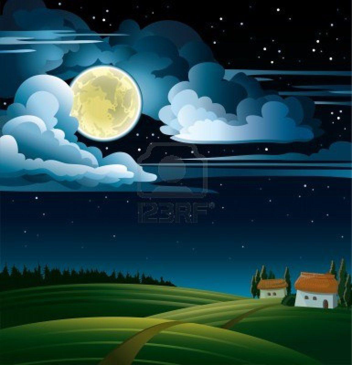 Full Moon Night Landscape Cartoon Background Stars And Moon