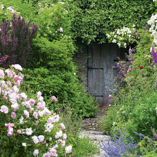Hidden door in garden wall.
