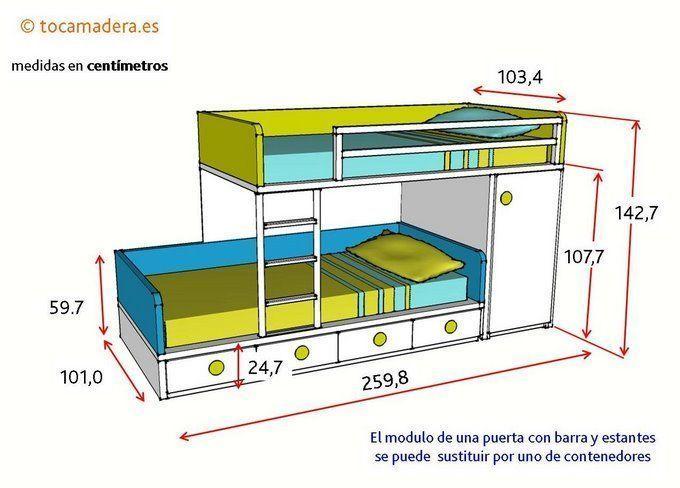 Camas tren cama tren juvenil con armario y cajones bajos for Medidas cama juvenil