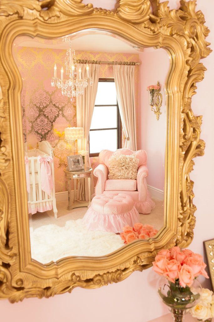 A Pink and Gold Princess Pad For a Glam Baby Girl Mirror