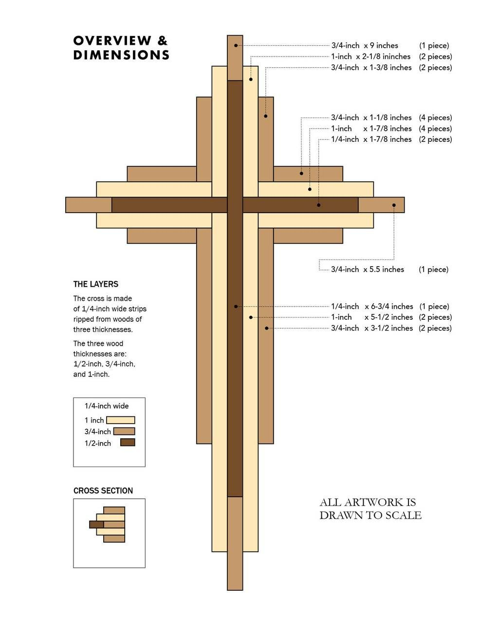 diy wooden cross designs, DIY 9 inch Wood Cross Plans Easy woodworking projects