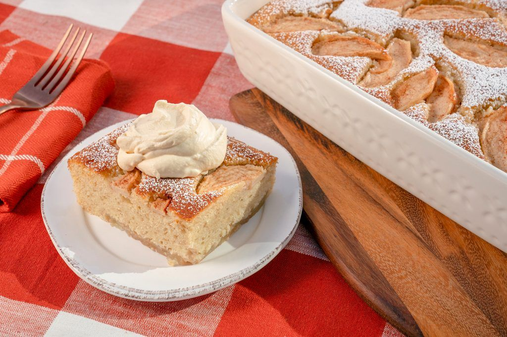 Buttermilk Apple Cake With Salted Caramel Whipped Cream Giadzy Recipe Food Network Recipes Apple Cake Recipes Savoury Cake