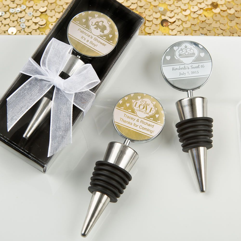 Personalized Metallics Wine Bottle Stoppers | Wine bottle stoppers ...