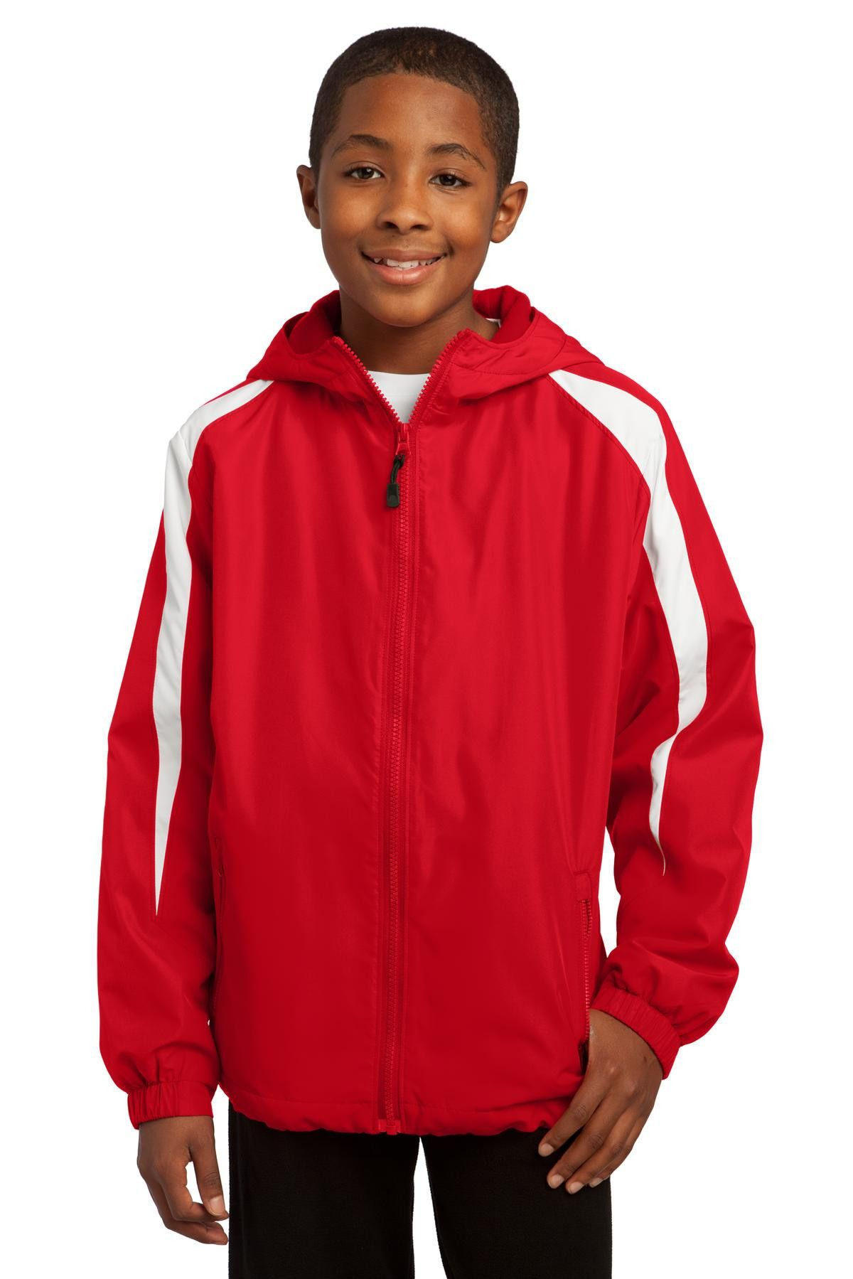 Sport-Tek Youth Fleece-Lined Colorblock Jacket. YST81 True Red/White