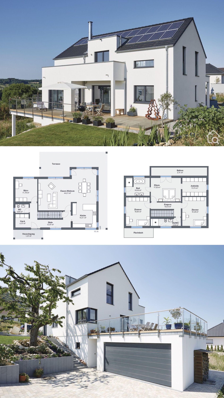Einfamilienhaus modern Grundriss mit Garage Einliegerwohnung & Satteldach bauen Haus Ideen am Hang