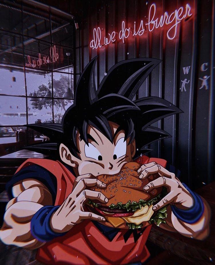Goku Eating A Burger Dragon Ball Wallpapers Dragon Ball Art Anime Dragon Ball Super