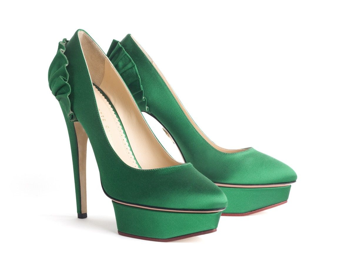 Green Satin Love These Ruffle Shoes For Weddings