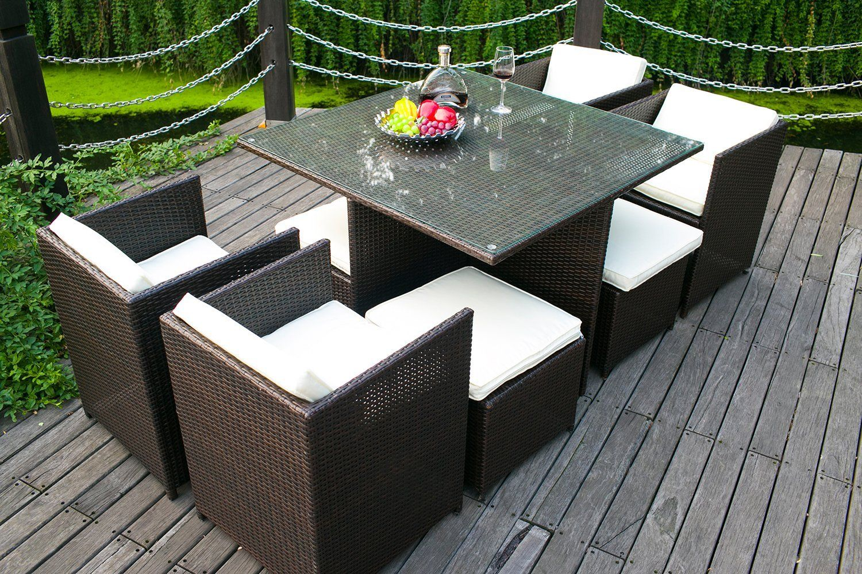 Merax 9-piece Outdoor Cube Rattan Garden Furniture Set ...