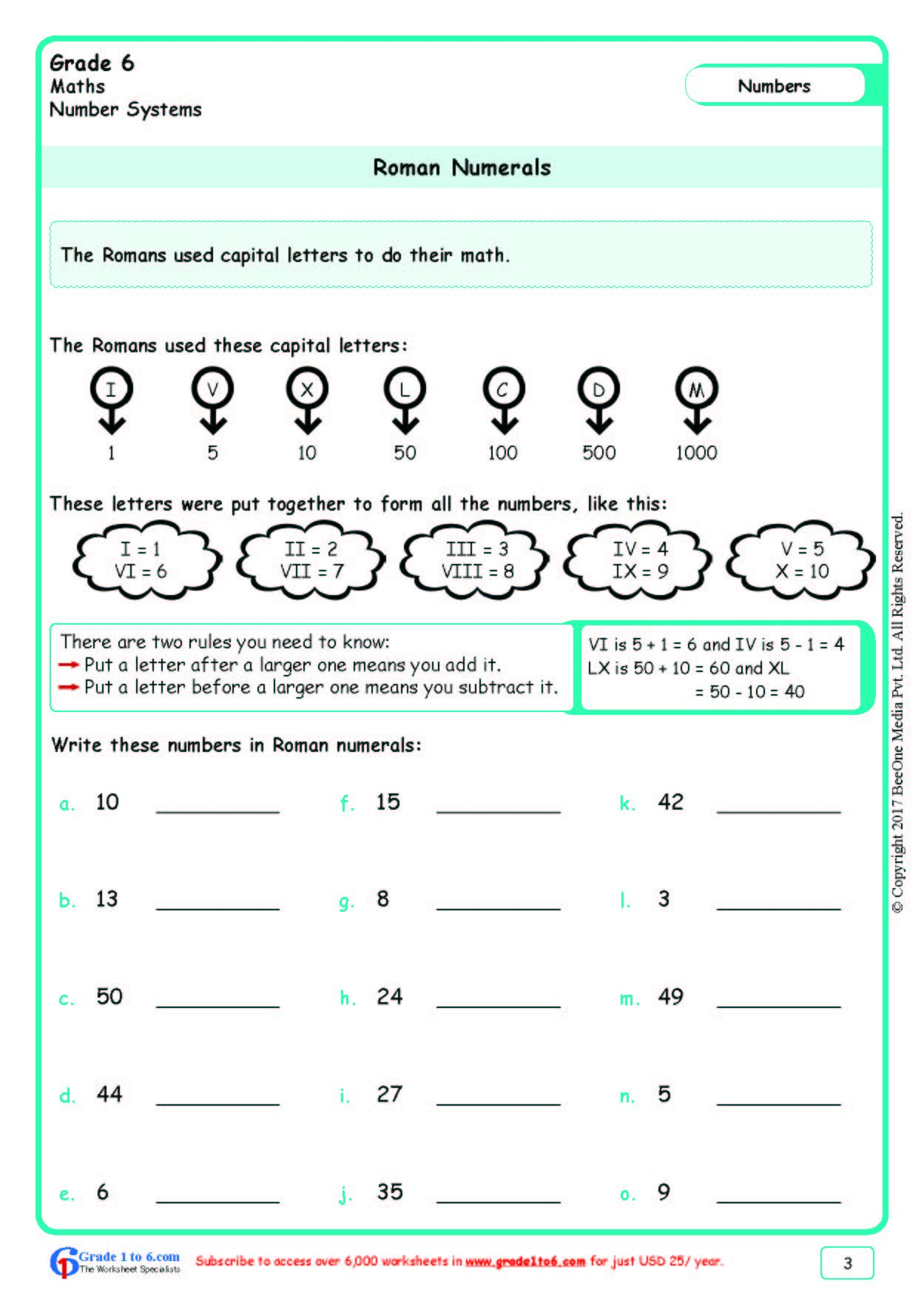 Worksheet Grade 6 Math Roman Numerals In