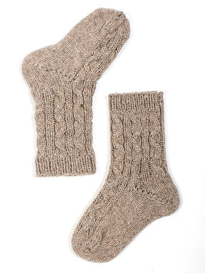 Cable Bed Socks Knitting Pattern For Alpaca Chunky Warm Bed Socks