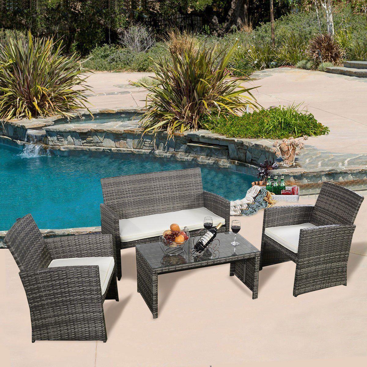 Amazon Com Ghp Outdoor Garden Patio 4 Piece Cushioned 400 x 300