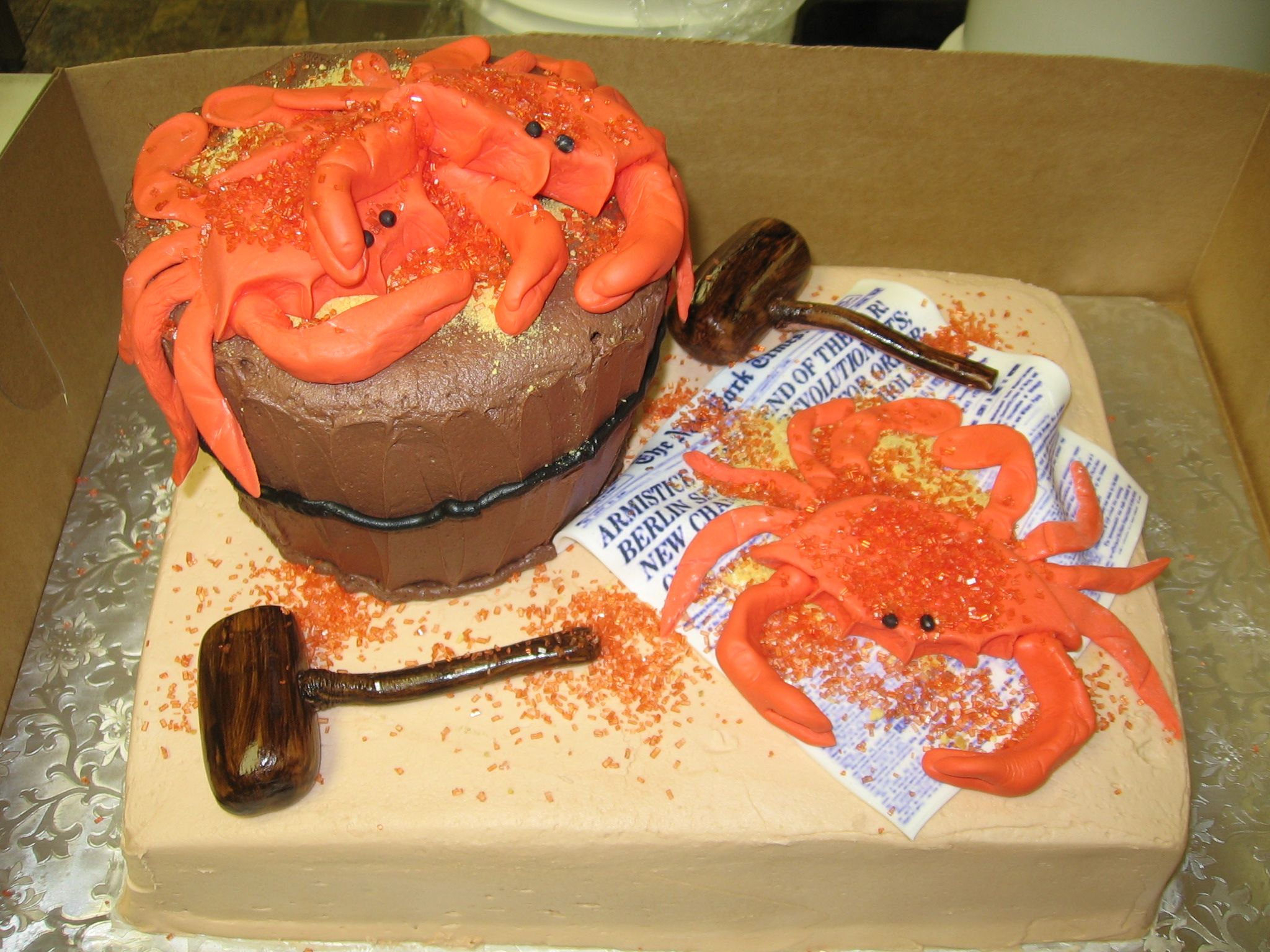 Maryland Crab Themed Birthday Cake by Main Street Sweets Bakery out