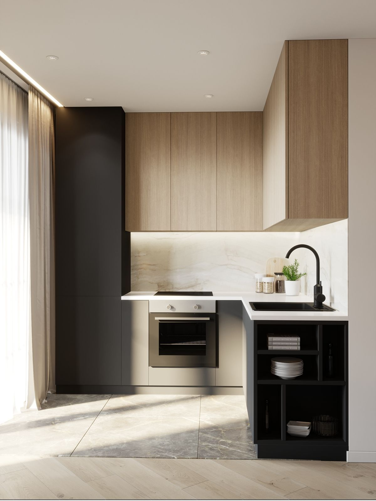 Apartments In Minsk Residential Complex Aquamarine On Behance Simple Kitchen Design Small Modern Kitchens Small Kitchen Decor Simple small kitchen ideas