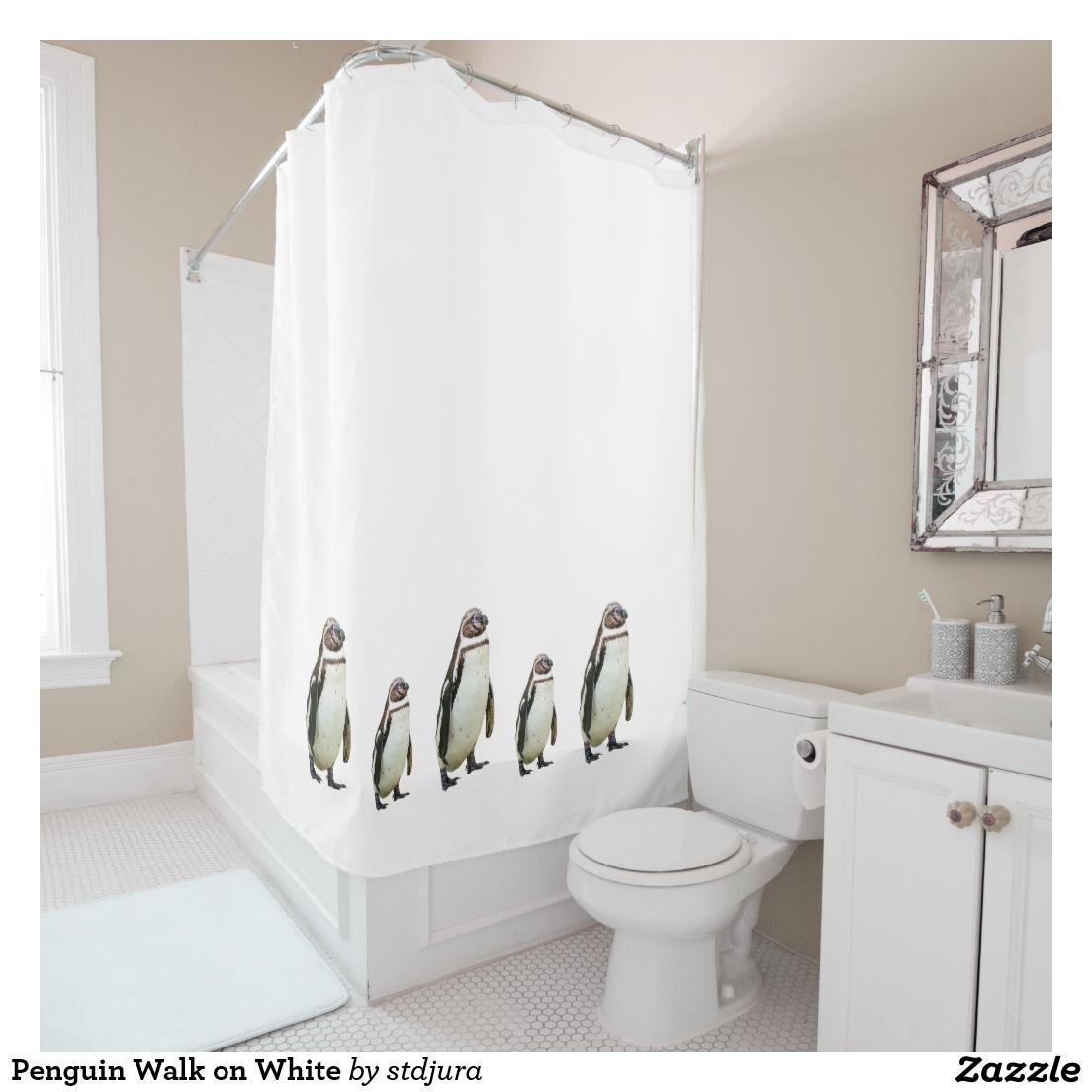 Penguin Walk on White Shower Curtain | Shower Curtain | Pinterest ...