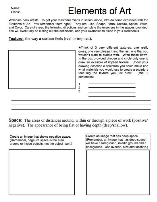 graphic relating to Worksheet Design titled Supplies Of Artwork Worksheets Factors and Basic principles of Artwork