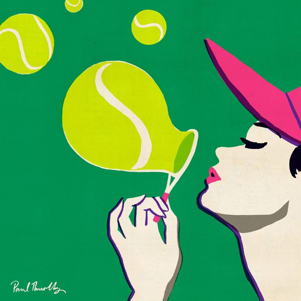 Paul Thurlby Handsome Frank Illustration Agency Tennis Art Tennis Drawing Wimbledon Tennis