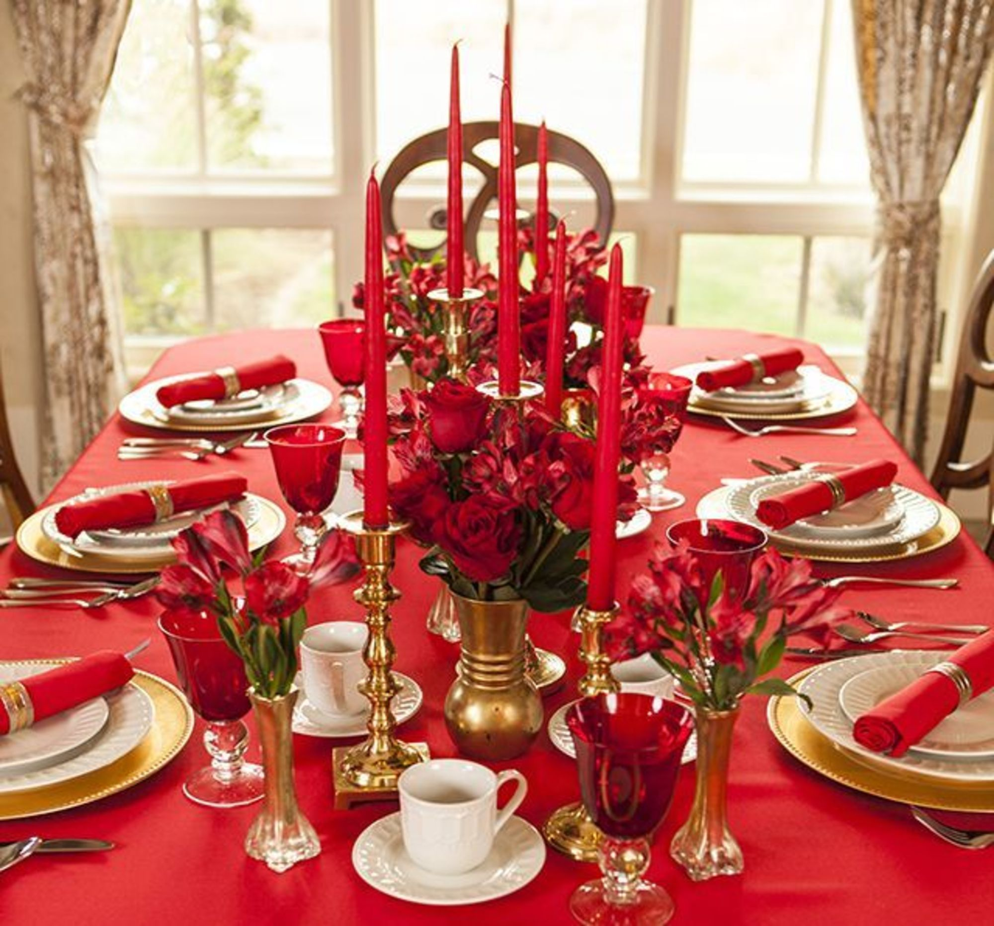D co table noel table de f te en rouge et or table de no l pinterest et table - Table de noel rouge et or ...