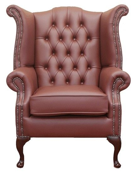 Burgandy Chesterfield Queen Anne Wing Chair