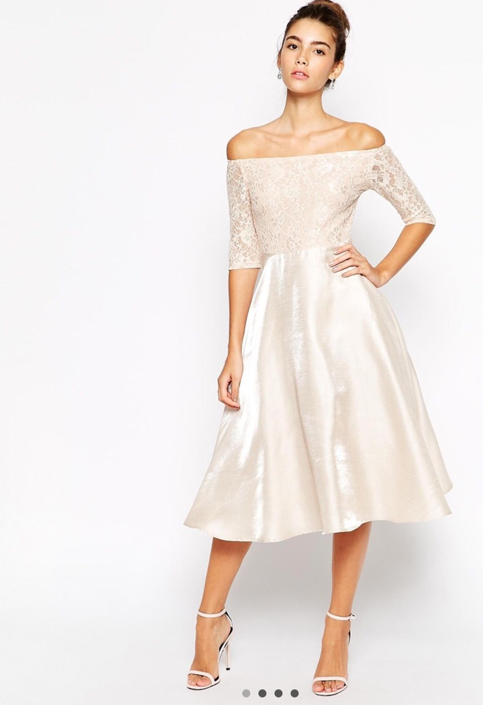 cf654eb21d2645 White Lace Bardot Long Sleeve Midi Dress – DACC