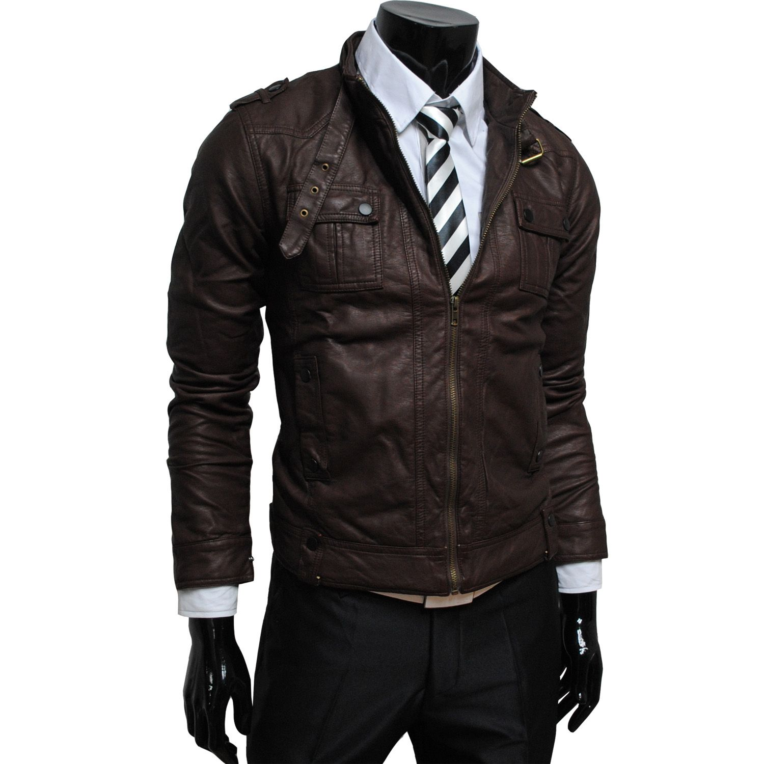 Thumbnail 1 Jackets, Leather jacket, Brown faux leather