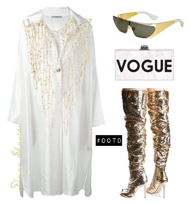 """#OOTD - Dusan Shirt Dress, Treasured Boots, Dior Shades"" by adswil ❤ liked on Polyvore featuring DuÅ¡an, Cape Robbin and Rosantica"
