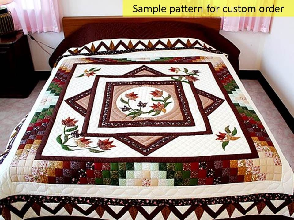 California King Size Spring Floral Quilts Amish Style Quilts Etsy Handmade Quilts Quilts Floral Quilt Quilts for sale king size