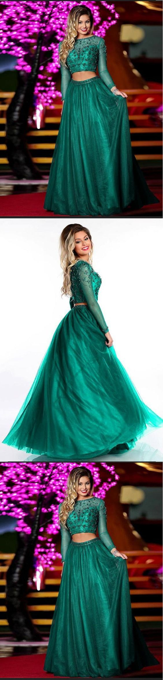 Two piece prom dresses bateau aline long sleeve prom dress sexy