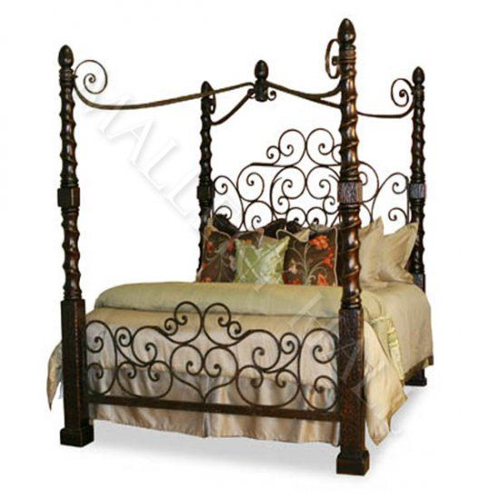 Romantic Hand Forged Iron Canopy Bed With Images Iron Canopy