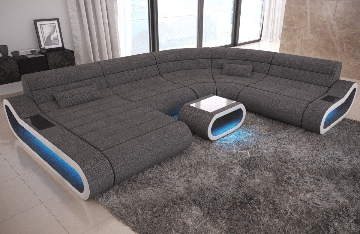 Big Couch Sofa Concept im Stoff Mix XXL Version mit LED Beleuchtung ...